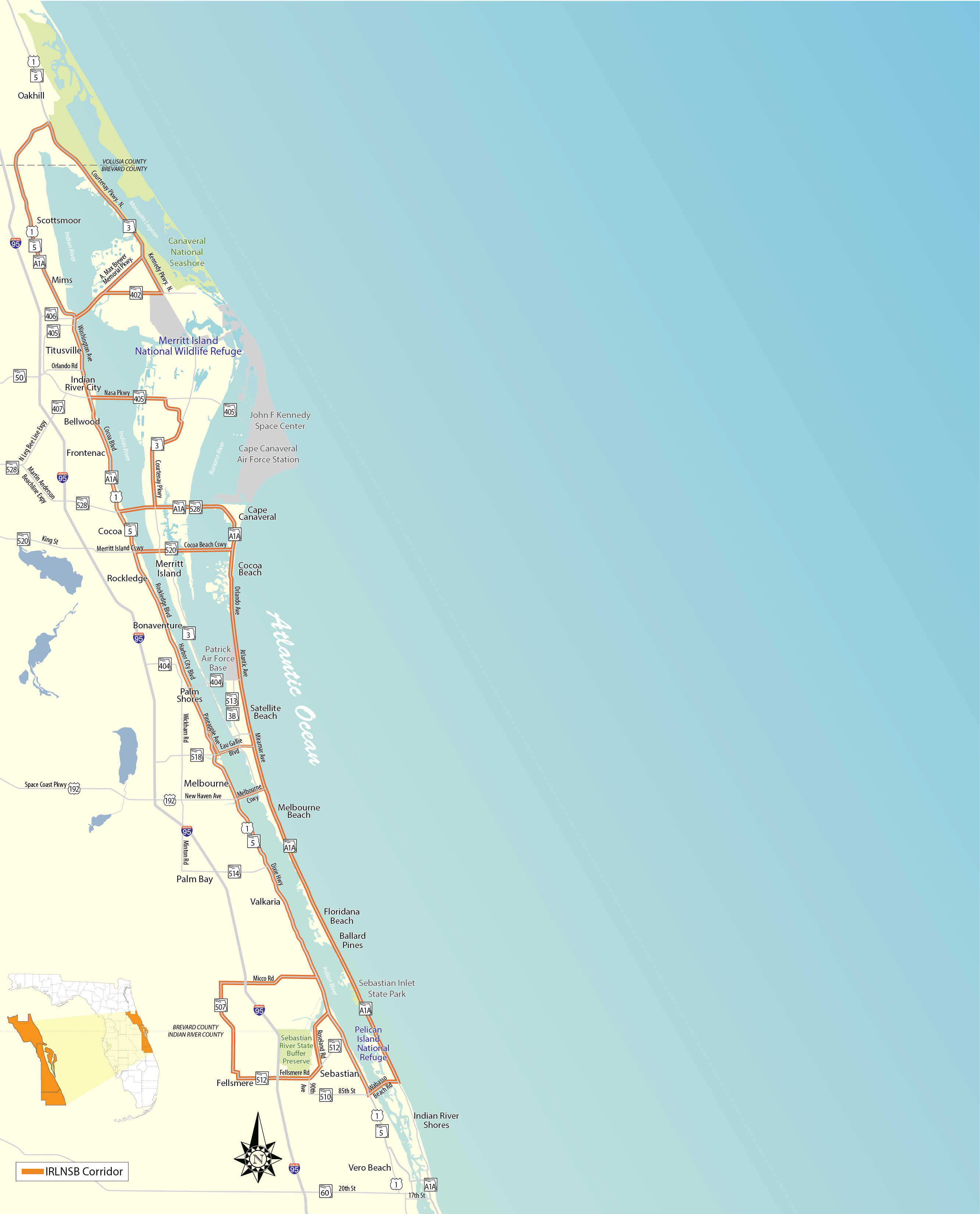 Indian River Lagoon National Scenic Byway Florida Scenic Highways - Indian river lagoon map