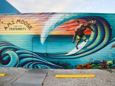 Colorful murals are visible along the Bradenton beach Scenic Highway on Anna Maria Island. (Bradenton Beach Scenic Highway on Anna Maria Island is a waterfront highway corridor that offers nature, scenery, and pedestrian and bike-friendly paths. At 2.8 miles long, it offers panoramic views of the Gulf of Mexico and Sarasota Bay along Highway 789. It also includes access to Leffis Key, an island preserve with trails and plenty of wildlife and bird viewing.) (Bradenton Beach Scenic Highway) Photo made on 11/30/15 Photo by Lara Cerri