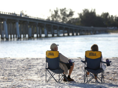 Tourists enjoy the morning at Longboat Pass, which connects Sarasota Bay to the Gulf of Mexico. The Longboat Pass bridge, which connects Anna Maria Island and Longboat Key, is the southern end of the 2.8-mile long Bradenton Beach Scenic Highway. (Bradenton Beach Scenic Highway on Anna Maria Island is a waterfront highway corridor that offers nature, scenery, and pedestrian and bike-friendly paths. At 2.8 miles long, it offers panoramic views of the Gulf of Mexico and Sarasota Bay along Highway 789. It also includes access to Leffis Key, an island preserve with trails and plenty of wildlife and bird viewing.) (Bradenton Beach Scenic Highway) Photo made on 11/30/15 Photo by Lara Cerri