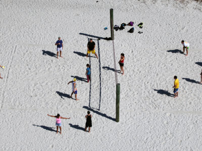 Tampa, Florida. 2/20/2016. A volleyball game at the Ben T. Davis Beach at the east end of the Courtney Campbell Scenic Highway. Photos of the Courtney Campbell Scenic Highway and areas along it. Photo by Bill Serne