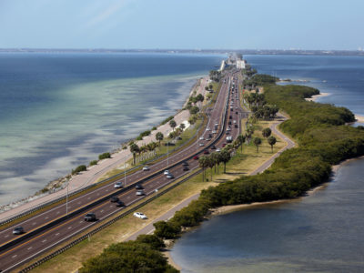 Tampa, Florida. 2/20/2016. Overall from the Clearwater side looking east towards the causeway road and the scenic trail. Photos of the Courtney Campbell Scenic Highway and areas along it. Photo by Bill Serne