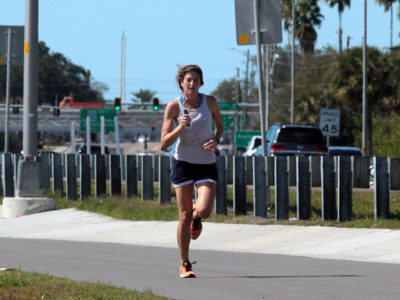 Tampa, Florida. 2/17/2016. A runner heading east from the Clearwater side of the trail. Photos of the Courtney Campbell Scenic Highway and areas along it. Photo by Bill Serne