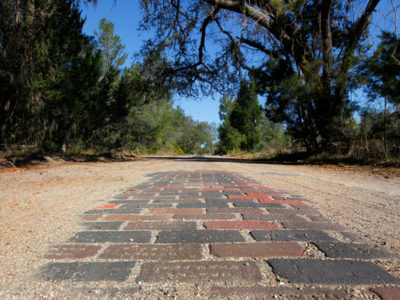 This stretch of Old Dixie Highway, built in 1914, is the longest continuous nine miles of original brick road in the Southeastern United States, and is part of the Heritage Crossroads: Miles of History Heritage Highway. Daron Dean for VISIT FLORIDA