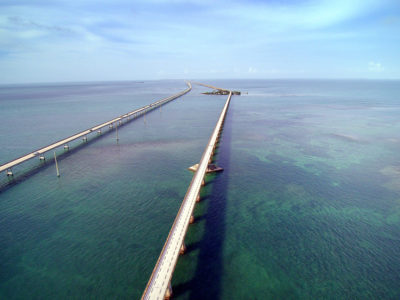 Overseas Highway- The Seven Mile Bridge seen from the air just south of Marathon in the Florida Keys.