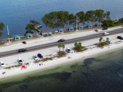 Bradenton Florida. 2/20/2016. Looking down at the causeway and the Palma Sola Causeway Park. Photos of the Palma Sola Scenic Highway and areas along it. Photo by Bill Serne