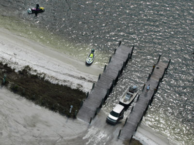 Bradenton Florida. 2/20/2016. The Palma Sola Bay Boat ramp from the air. Photos of the Palma Sola Scenic Highway and areas along it. Photo by Bill Serne