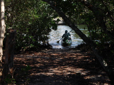 Bradenton Florida. 2/22/2016. Entering a waterway near the Robinson Preserve Trail that leads to the Perico Bayou. On the ground photos of the Palma Sola Scenic Highway and areas along it. Photo by Bill Serne