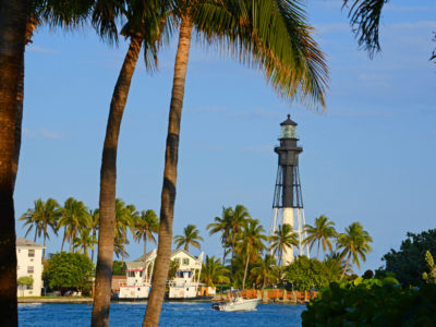 Broward County -- The view from Hillsboro Inlet Park, in Pompano Beach, with The Hillsboro Light across the inlet. Photo by Peter W. Cross