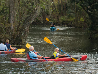 Kayaker paddle in Silver Springs near Ocala on SR 40 along the Florida Black Bear Scenic Byway on December 28, 2015. Photo by Tom Burton