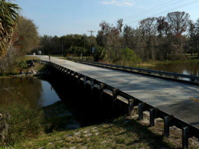 The scenic sumter heritage byway crosses a river near lake panasoffkee, fla.