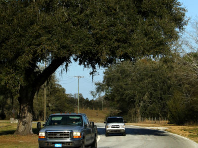 Trucks travel along the Scenic Sumter Heritage Byway near Sumterville, Fla.