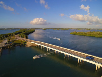 Ft. Pierce, Fl. -- Looking west over the Little Jim Bridge, part of the Indian River Lagoon - Treasure Coast Scenic Highway. Photo by Peter W. Cross