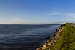 A panoramic view of the causeway connecting St. George Island to the mainland on the Coastal Trail of the Big Bend Scenic Byway. COLIN HACKLEY PHOTO EDITOR'S NOTE: This image is comprised of multiple photos taken at the same moment and stitched together by Photoshop to create a panorama.