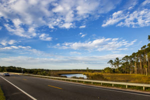 With the top down a convertible has a fine view of Fla. Highway 65 crossing over Cash Creek north of Eastpoint on the Big Bend Scenic Byway. COLIN HACKLEY PHOTO