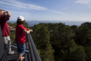 John, left, and Mary Fort survey Dog and St. George Islands from atop the Crooked River Lighthouse near Carrabelle..COLIN HACKLEY PHOTO