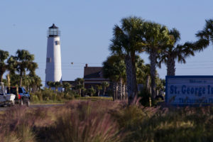 The Cape St. George Lighthouse, rebuilt in a new location, is now the focal point of St. George Island... COLIN HACKLEY PHOTO