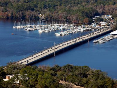 Vehicles travel across the Julington Creek Bridge, the northern most part of the 17-mile William Bartram Scenic and Historic Highway in western St. Johns County. Daron Dean for VISIT FLORIDA